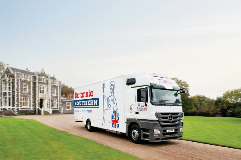 Britannia removals truck heading for Spain