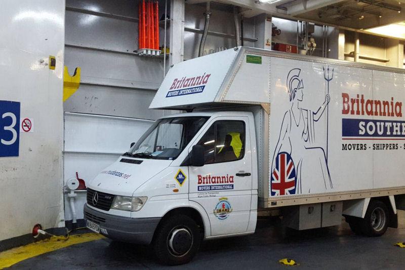 Britannia Southern removal van on Mallorca ferry to Ibiza