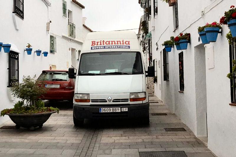 Renault Master 12m3 removal van on a delivery in Mijas Pueblo (Malaga)