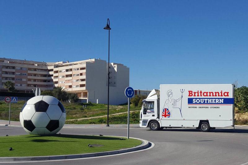 Britannia Southern removal truck close to depot in Mijas Costa